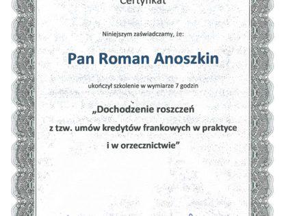 """Certyfikat: """"Dochodzenie roszczeń z tzw. umów kredytowych frankowych w praktyce i orzecznictwie"""""""
